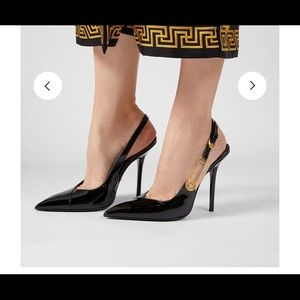 Versace SAFETY PIN PATENT PUMPS
